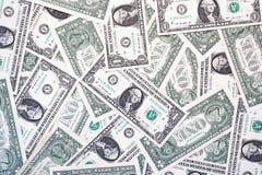 En dollar räkningar framifrån och den tillbaka enkla bakgrunden arkivfoto
