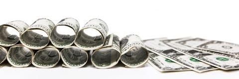 En dollar sedlar Arkivfoton
