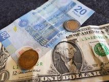 en dollarräkning och 21 pesos och 50 cent av Mexico, bakgrund och textur Royaltyfri Bild