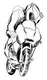 En dragen hand skissar av sportmotorcyklist stock illustrationer