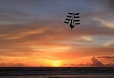 Draken flyger på solnedgången royaltyfria bilder
