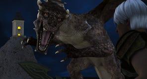 En drakemördare förbereder sig att göra strid med draken Arkivbild