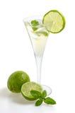 En drink med limefrukt och minten i ett champagneexponeringsglas royaltyfria foton