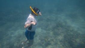 En dykare stiger långsamt stock video