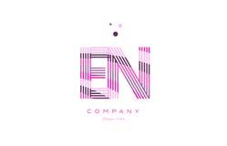 En e n alphabet letter logo pink purple line icon template vecto Royalty Free Stock Photography