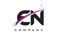 EN E N Black Letter Logo Design with Purple Magenta Swoosh Stock Photos