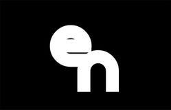 EN E N black white bold joint letter logo Stock Images