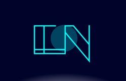En e n blue line circle alphabet letter logo icon template vecto Royalty Free Stock Images