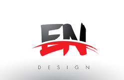 EN E N Brush Logo Letters with Red and Black Swoosh Brush Front Royalty Free Stock Photos
