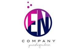 EN E N Circle Letter Logo Design with Purple Dots Bubbles Royalty Free Stock Photo
