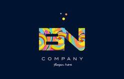En e n colorful alphabet letter logo icon template vector Stock Image