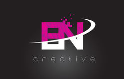 EN E N Creative Letters Design With White Pink Colors Stock Image