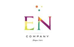 En e n  creative rainbow colors alphabet letter logo icon Royalty Free Stock Photo