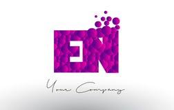 EN E N Dots Letter Logo with Purple Bubbles Texture. Royalty Free Stock Images