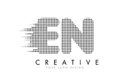 EN E N Letter Logo with Black Dots and Trails. Royalty Free Stock Photos