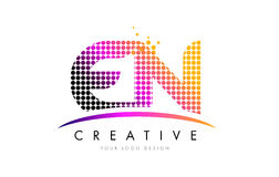 EN E N Letter Logo Design with Magenta Dots and Swoosh Royalty Free Stock Image
