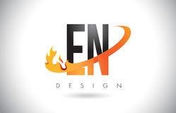 EN E N Letter Logo with Fire Flames Design and Orange Swoosh. Royalty Free Stock Photo