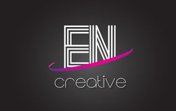 EN E N Letter Logo with Lines Design And Purple Swoosh. Stock Images
