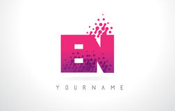 EN E N Letter Logo with Pink Purple Color and Particles Dots Des Royalty Free Stock Photo