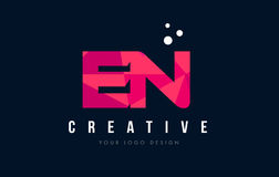 EN E N Letter Logo with Purple Low Poly Pink Triangles Concept Royalty Free Stock Photo