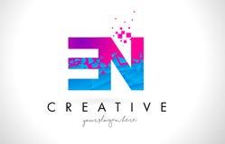 EN E N Letter Logo with Shattered Broken Blue Pink Texture Desig Stock Image