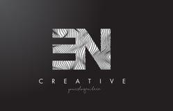 EN E N Letter Logo with Zebra Lines Texture Design Vector. Stock Images