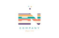 En e n line stripes pastel color alphabet letter logo icon templ Stock Photography