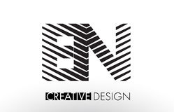 EN E N Lines Letter Design with Creative Elegant Zebra Stock Photo