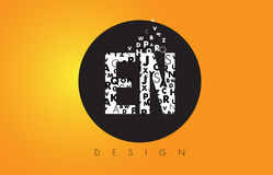 EN E N Logo Made of Small Letters with Black Circle and Yellow B Stock Photos