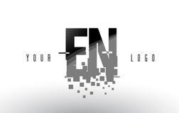 EN E N Pixel Letter Logo with Digital Shattered Black Squares Royalty Free Stock Images