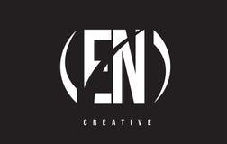 EN E N White Letter Logo Design with Black Background. Stock Photography