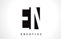 EN E N White Letter Logo Design with Black Square. Stock Image
