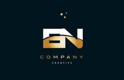 En e n  white yellow gold golden luxury alphabet letter logo ico Stock Photos