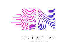 EN E N Zebra Lines Letter Logo Design with Magenta Colors Stock Photography