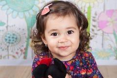 1 en een een half meisje van de éénjarigenbaby binnen Stock Afbeeldingen