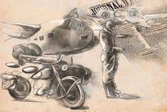 En el aeropuerto - soldado en una motocicleta en medio Imagenes de archivo