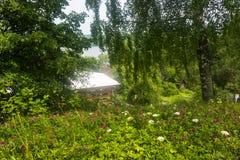 En el alto banco del río Volga en un día de verano Fotografía de archivo
