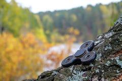 En el bosque debajo del cielo abierto miente en el hilandero del abedul Foto de archivo libre de regalías