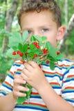 En el bosque, un muchacho que sostiene un manojo de fresas. imagenes de archivo