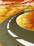 En el camino en salida del sol stock de ilustración