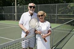 En el campo de tenis Imagen de archivo