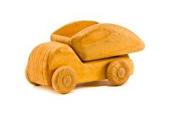 en el carro de madera retro blanco del juguete Imagenes de archivo