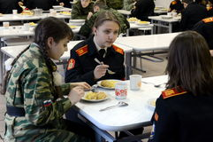En el comedor del cuerpo del cadete de la policía Imagen de archivo libre de regalías