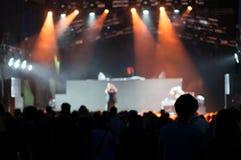 En el concierto del techno Foto de archivo libre de regalías