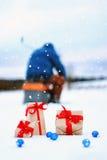 En el copo de nieve del paisaje de la bola de la caja de regalo de la nieve Imagen de archivo libre de regalías