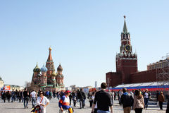 En el cuadrado rojo en Moscú antes pueden 9 - día de la victoria Fotos de archivo libres de regalías