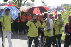 En el día del paraguas de los profesores que conmemoran de la acción Imagenes de archivo