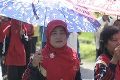 En el día del paraguas de los profesores que conmemoran de la acción Imagen de archivo libre de regalías