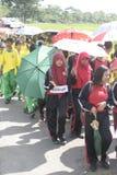 En el día del paraguas de los profesores que conmemoran de la acción Foto de archivo