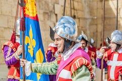 En el desfile de Guardia en los caballeros del St. Jonh en Birgu, Malta. fotografía de archivo